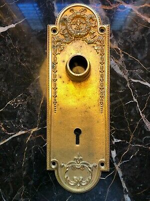 VINTAGE ANTIQUE DOOR LOCK PLATE WITH KEY hole Gilded Brass old