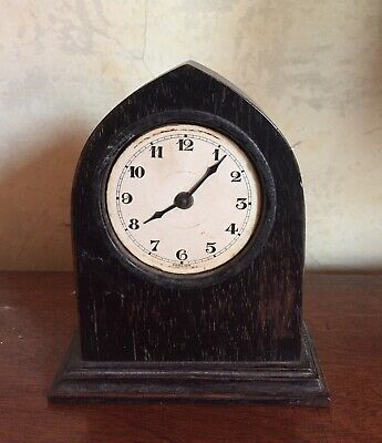 Sweet Little Vintage Stained Oak Clock Arts & Crafts Style For Repair