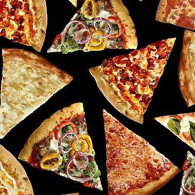 Pizza slices on black fabric By the yard 43 inch wide cotton print