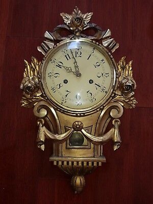 Gustav Becker Early 1900's Gilded Wood Pendulum & Strike Bell Clock