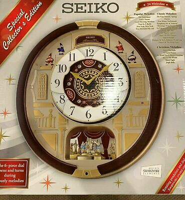 Seiko Melodies In Motion Clock Swarovski Crystals QXM554BR NEW IN BOX gorgeous