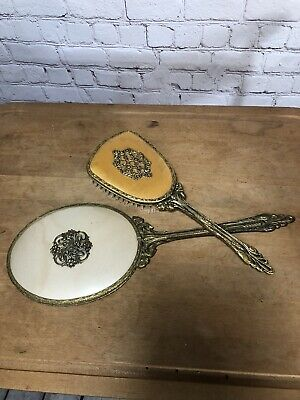 Vintage Gold Tone Vanity Brush & Hand Held Mirror Set Hollywood Glamour Art Deco