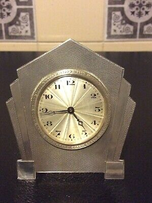 Sterling Silver Art Deco Travel Clock Boudoir Mantle Clock French