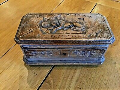 BLACK FOREST HAND CARVED WOODEN ANTIQUE SWISS LION OF LUCERNE BOX 18 x 10 x 8cms