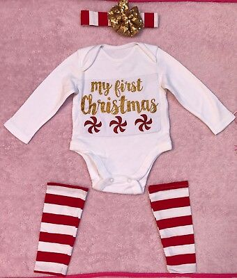 My First Christmas Baby Girl vest bodysuit headband set bundle size 0-3 months