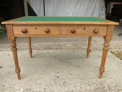 Pitch pine base top 2 drawer writing table / desk (ref 783)