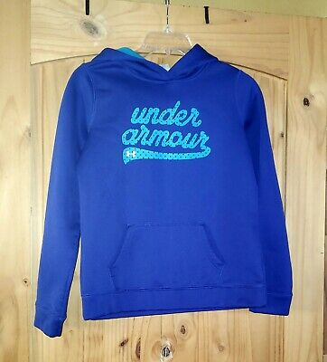 Girls Under Armour Storm Size Youth Large Blue Hoodie Sweatshirt