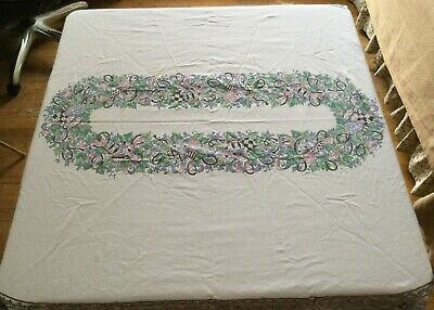 "VINTAGE EASTER EGGS TABLE CLOTH  ~ FLORAL OBLONG ~ 55""x 73"" ~ PRETTY"