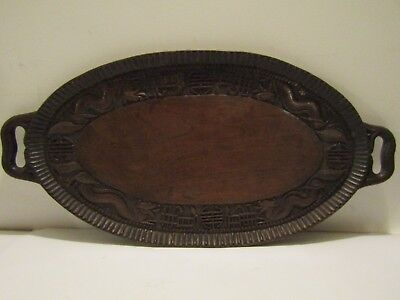 Oriental antique Chinese hand carved treen 2ft dragon tray gorgeous rich patina