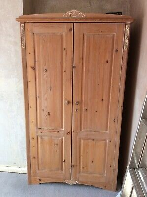 Limed Oak Effect Pine Wood Two Wardrobes