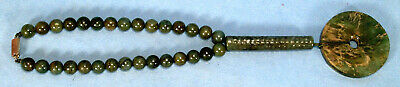 Antique Chinese Jade Necklace with a Bi Pendanti and Tubular Beads