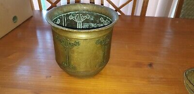 Antique Arts And Craft Period Large Brass Planter