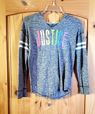 JUSTICE Active Gray Girls Hooded Shirt SIZE 10