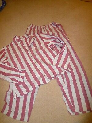 The Little White Company Pyjamas red striped boys Age 11-12