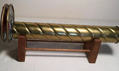 """Vintage Signed """"Corki Weeks-1982"""" Brass Kaleidoscope with Wood Stand"""