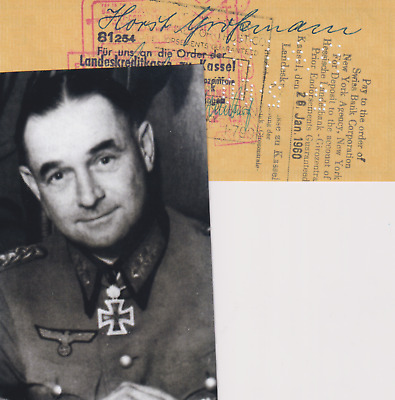 Signature Heer General der Infantry Horst Grossmann - Knights Cross/Oakleaves