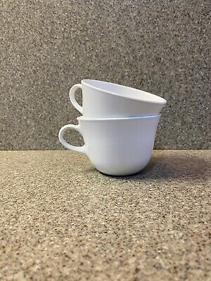 Set of 2  Corelle Winter Frost White Coffee Cups Round Handle