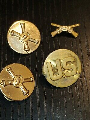 WWII US Army Enlisted Officer Collar Insignia Pin Set