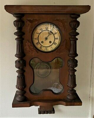 Antique FMS Mauthe German Black Forest Wall Clock w Key -For Parts & Restoration