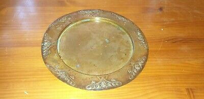 Antique Joseph Sankey Art Nouveau Rimmed Copper Tray Signed To Base 12""