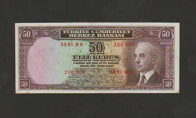 Turkey,50 Kurus Banknote,L.1930,About Uncirculated Condition,Cat#133