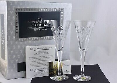 Set Of 2 Waterford Millennium Collection Universal Wishes Toasting Flutes - New