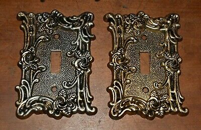 2 1967 Vintage Victorian Switch Plate Covers Roses Relief Design AMER TACK HOWE