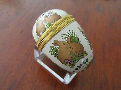 Halcyon Days Enamel Egg with Stand Bunnies Rabbits