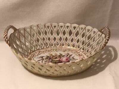 """Old Paris Porcelain 9.5"""" Basket with Hand Painted Flowers and Gilt Accents"""