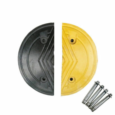 Set of Rubber Speed Hump Ends Round Edge Road Humps Edges Yellow & Black w/Bolts