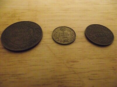 Antique Canada coins - 1918 Large Cent, 1920 Cent, 1920 5 Cents