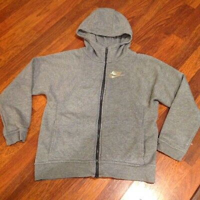 Nike Girls Youth Full Zip Hoodie Sweater Gray Size Large L