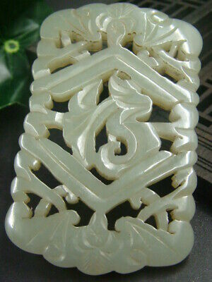 Chinese Antique Celadon Nephrite Hetian- Jade Hollowing LUCK Statues/Pendant135