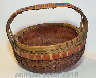 Antique Chinese Sewing Basket wth handle hand woven hand painted no lid 1900's