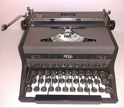 Vintage Royal Quiet Deluxe Gray Portable Typewriter with Tombstone Keys
