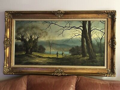 Extra Large Ornate Gold Framed Oil Painting Woods And Hunters 150x86cm