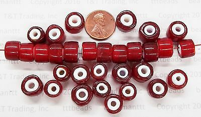 XXL Old Cherry Red White Heart Antique Trade Beads   50 Pc   T2713 Limited  RT