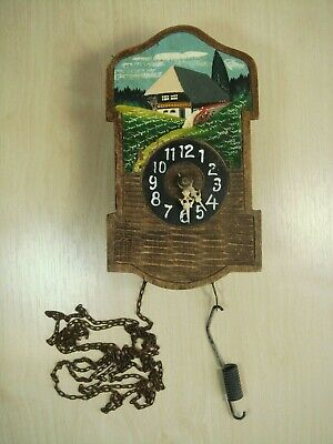 Very Old Small Wall Clock  with Wood Casing Working Nr 782