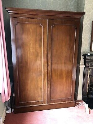 Antique Victorian large double gentleman's wardrobe with fitted interior