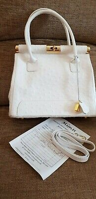 New Italian White Leather Hand bag with shoulder strap