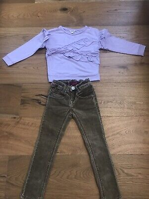 Girls Outfit, Courdoy Trousers, River Island Sweatshirt Size 3-4