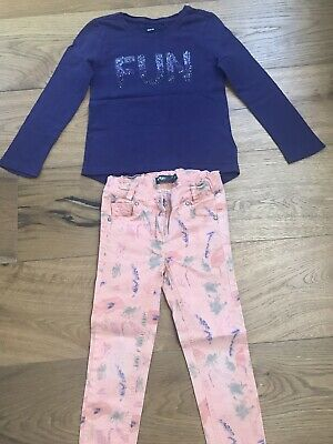 Girls Outfit, Gap Purple Top, Orage Trousers Size 4-5