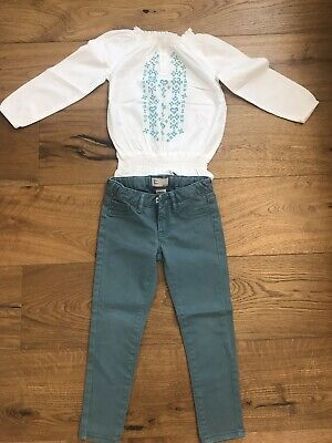 Girls Outfit, Gap Teal Jeans, Bnwot White Blouse Size 3-4