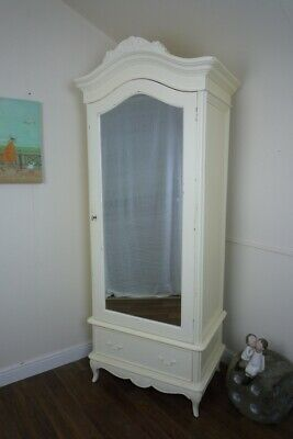 French Charroux Single Armoire Wardrobe In Cream (Large) - Shabby Chic Style