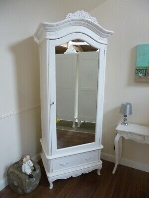 French Charroux Single Armoire Wardrobe In White (Large) - Shabby Chic Finish