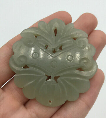 Fine Antique 19C Qing Chinese Carved Translucent Celadon Jade Plaque Pendant