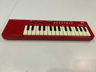 """Vintage Casio PT-10 Electronic 13.5"""" Mini Keyboard   Musical Instrument   RED  """