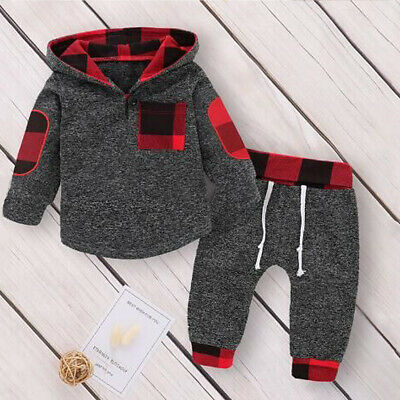 US Toddler Kids Baby Girls Boy Clothes Hoodies Tops Plaid Pants Outfit Tracksuit