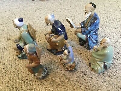 Collection Vintage Chinese Shiwan Mudman figures various sizes, read descri (F5)