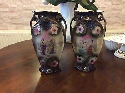Antique Pair Vases Small Chips
